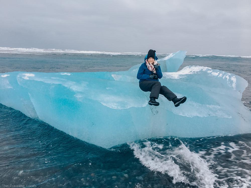 Riding an Iceberg on Diamond Beach, Iceland