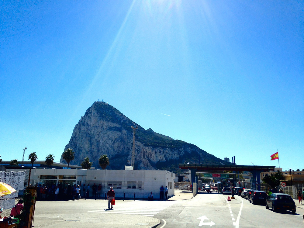Walking across Gibraltar Immigration and Airfield