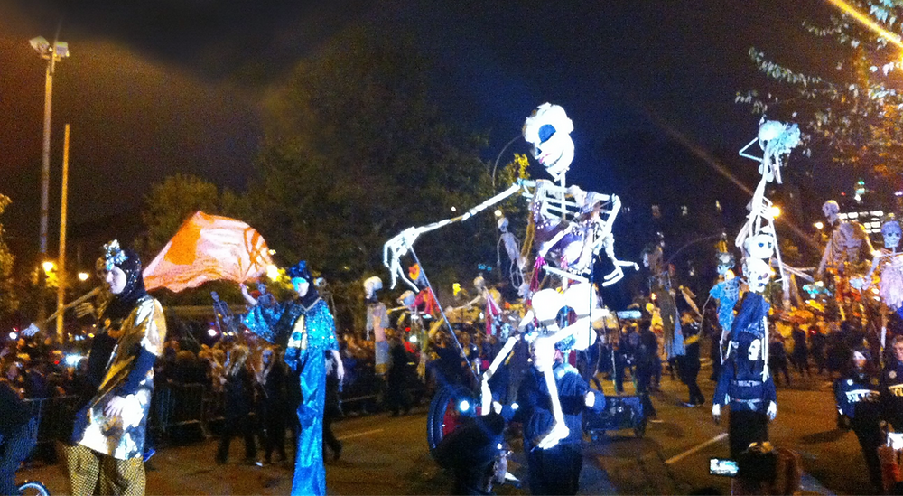 Ten Foot Tall Skeletons and Stilt Walkers