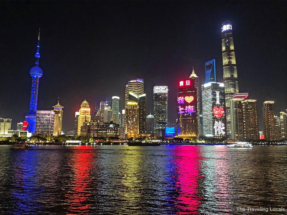 Shanghai China skyline at night, The Traveling Locals