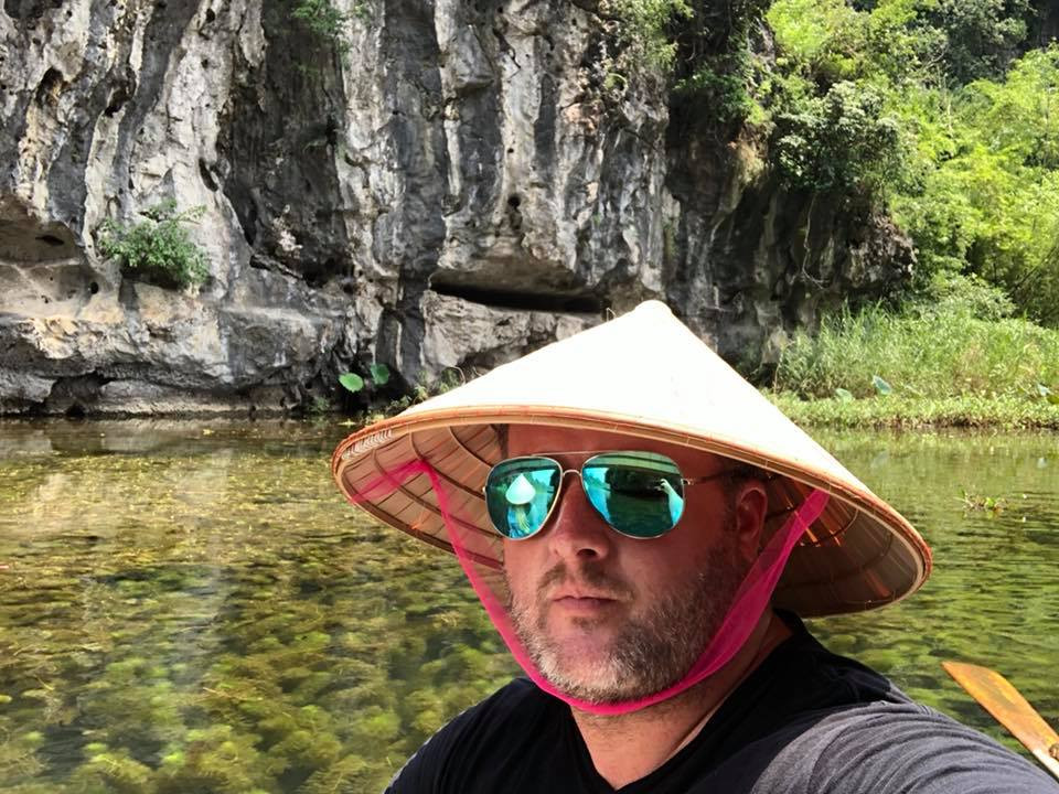 Rice hat on the river in Vietnam