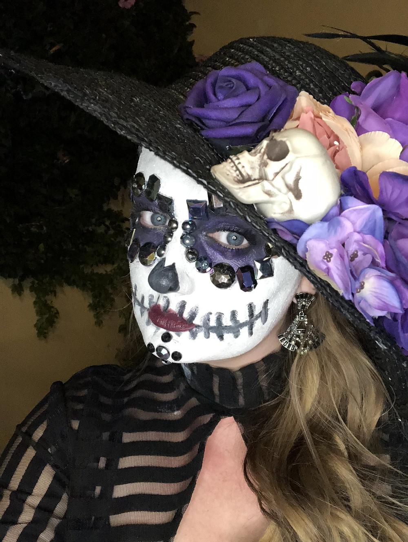 Hot woman in La Catrina make up, day of the dead, san miguel de allende