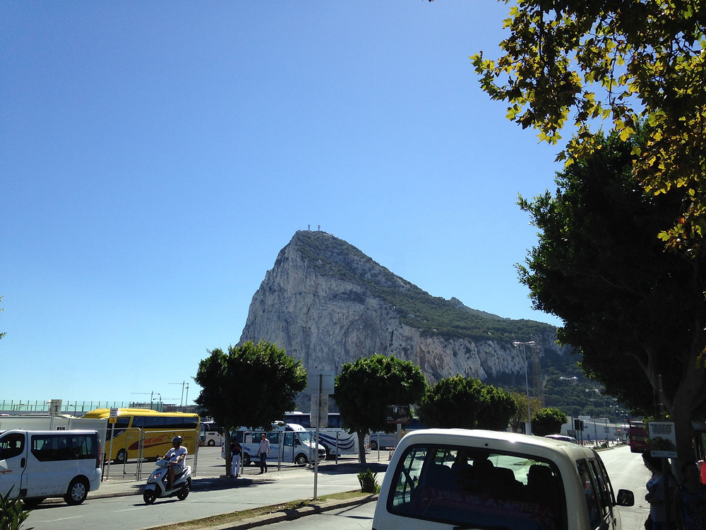The Rock of Gibraltar seen from Spanish border