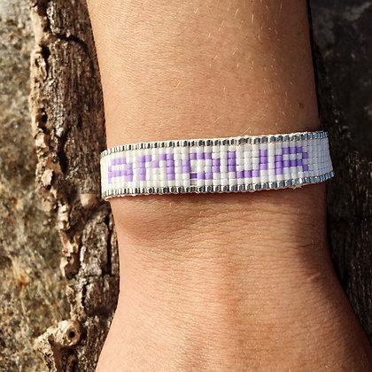 Bracelet Tissé Amour Violet Pastel