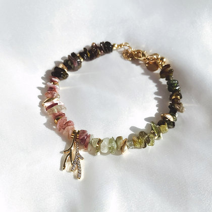 Bracelet Pendentif Corail en Tourmaline