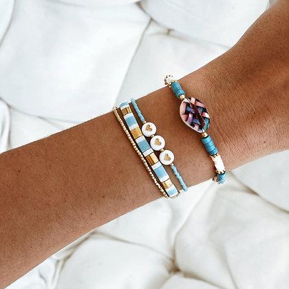 Bracelet coquillage turquoise Maldives