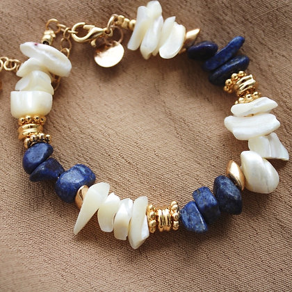 Bracelet chips Lapis Lazuli Océan