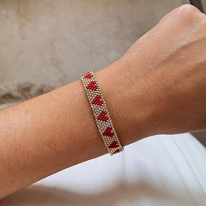 Bracelet Tissé Coeurs Rouge et Doré