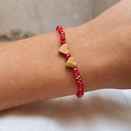 Bracelet Double Coeurs Rouge