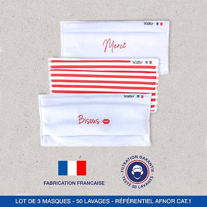 """Le Pack Masque """"Bisous et Merci rouge"""""""