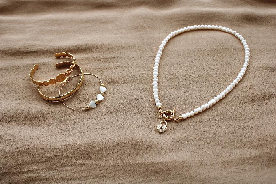 sozely-collier coeur cadenas-bracelet jo