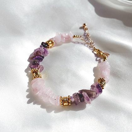 Bracelet Tendresse Quartz rose et Améthyste