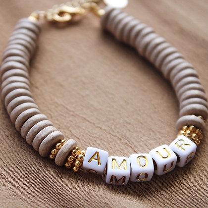 Bracelet céramique Amour Sable