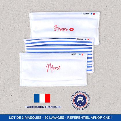 """Le Pack Masque """"Bisous et Merci bleu"""""""