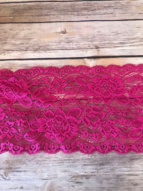 Stretch Lace - Hot Pink - 6""