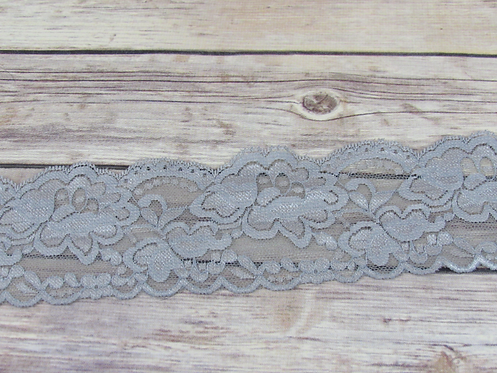 Stretch Lace - Silver - 3""