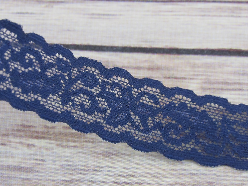 Stretch Lace - Navy - 1""