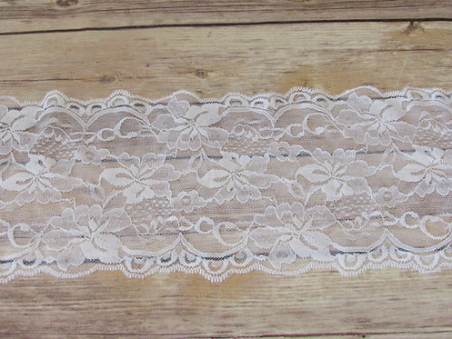 Stretch Lace - White - 6""