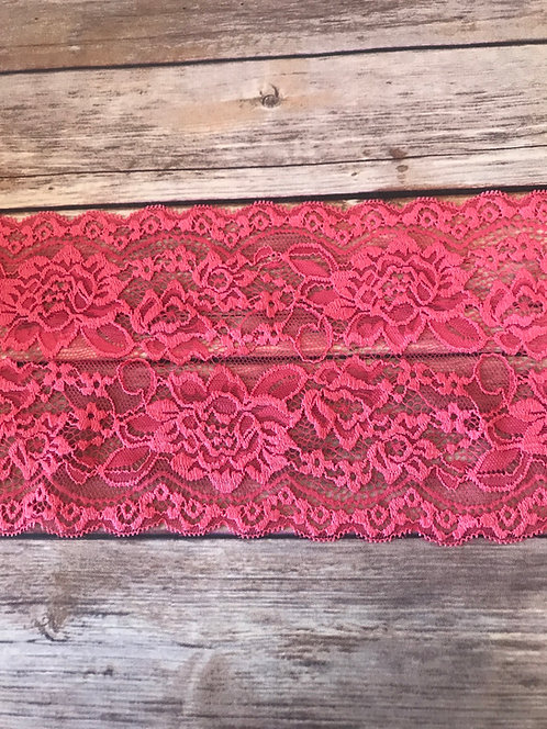 Stretch Lace - Coral - 6""
