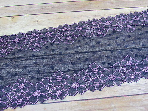 "Stretch Lace - Purple Polk Dots - 8.75"""