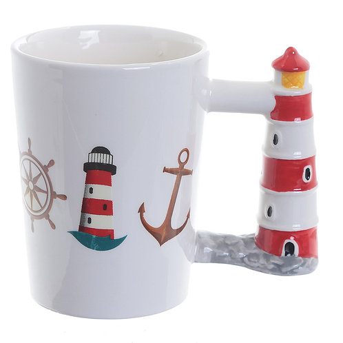 Fun Lighthouse Shaped Handle Ceramic Mug