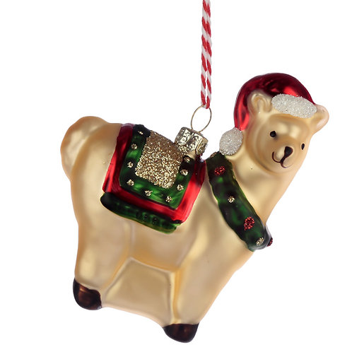 Glass Christmas Bauble - Llamapalooza Llama