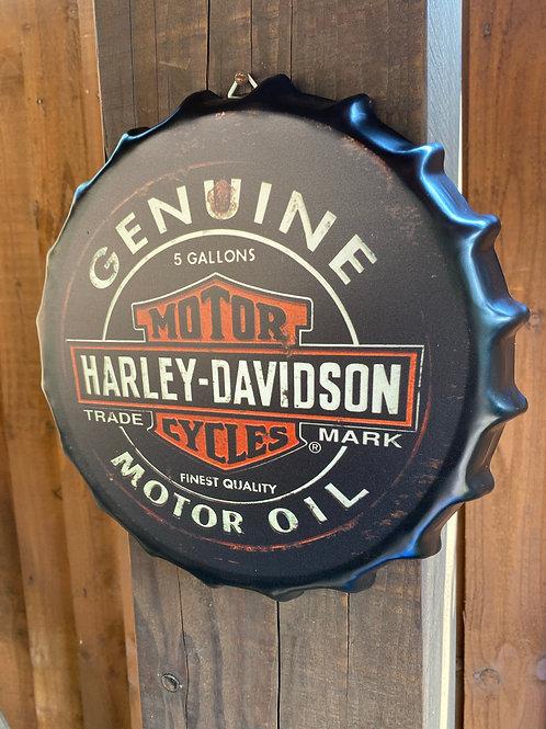 Harley Davidson Retro Vintage Wall Sign Metal Bottle Top 40cm