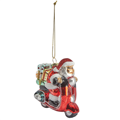 Glass Christmas Bauble -SANTA on a moped
