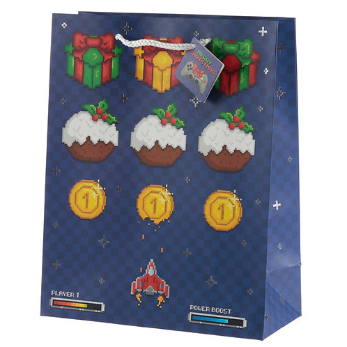 Retro Gaming Game Over Large Christmas Gift Bag
