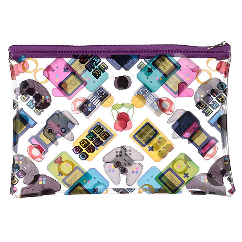 Handy Clear PVC Toiletry Make-up Bag - Game Over Design