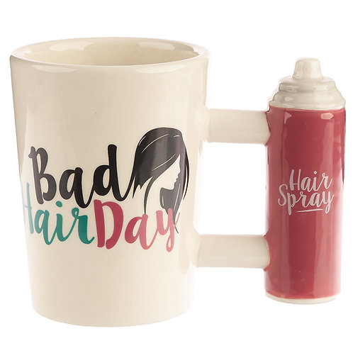 Fun Bad Hair Day Slogan Hair Spray Shaped Handle Ceramic Mug