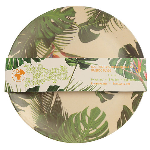 Bambootique Eco Friendly Cheese Plant Design Plate