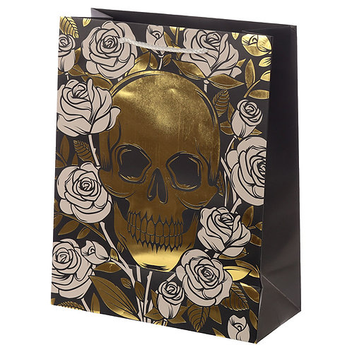 Skulls & Roses Metallic Large Gift Bag