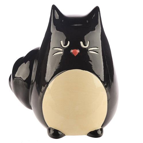 Collectable Ceramic Black Cat Shaped Money Box