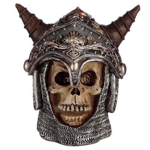 Gothic Skull in Medieval Horned Helmet Ornament