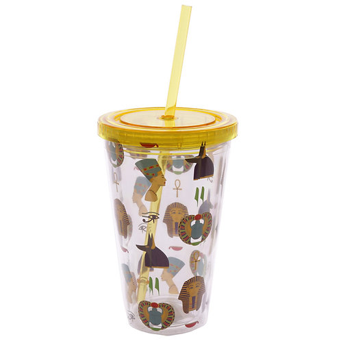 Funky Egyptian Double Walled Cup with Lid and Straw