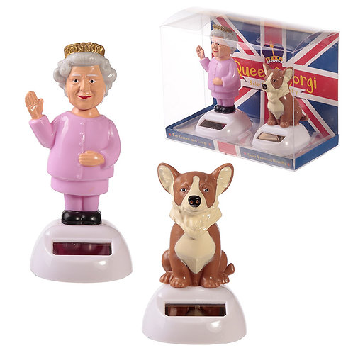 Collectable Queen and Corgi Solar Powered Pal Set of 2