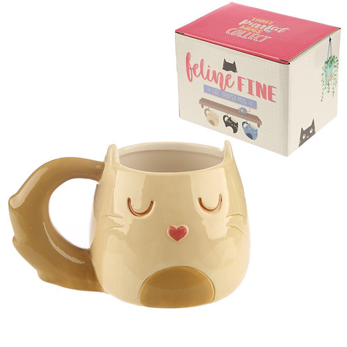 Cute Ceramic Cream Cat Mug