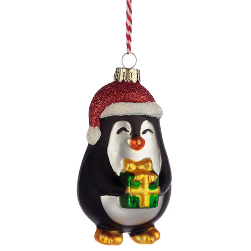 Glass Christmas Bauble - Cute Penguin