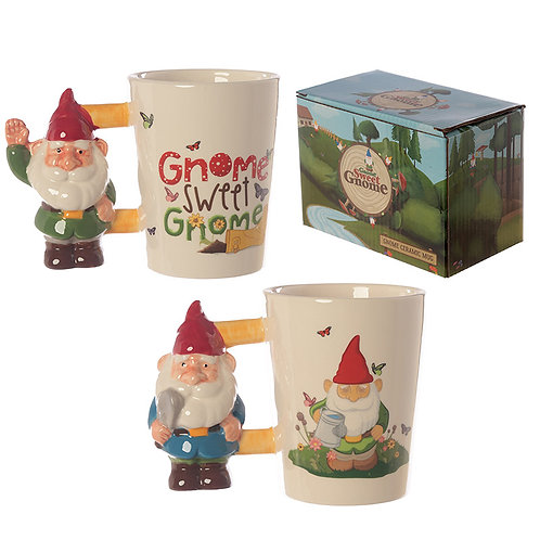 Ceramic Novelty Garden Gnome Shaped Handle Mug