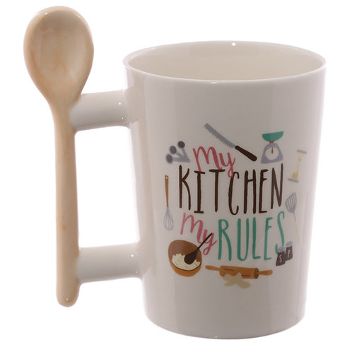 Fun Wooden Spoon Shaped Handle Ceramic Mug