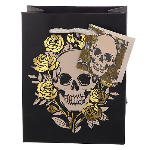 Skulls & Roses Metallic Small Gift Bag