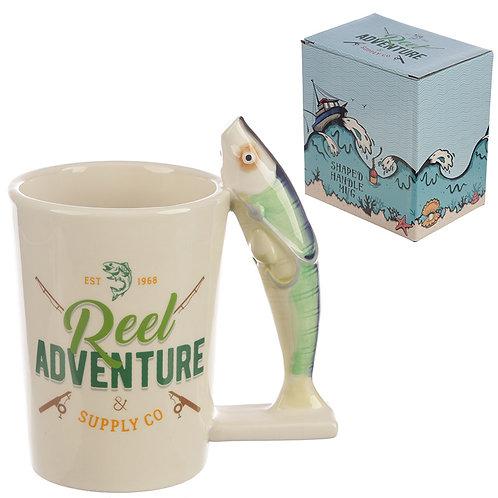 Collectable Fishing Reel Adventure Shaped Handle Ceramic Mug