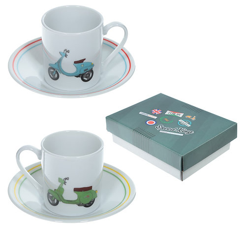 Set of 2 Espresso Cup and Saucer - Scooter