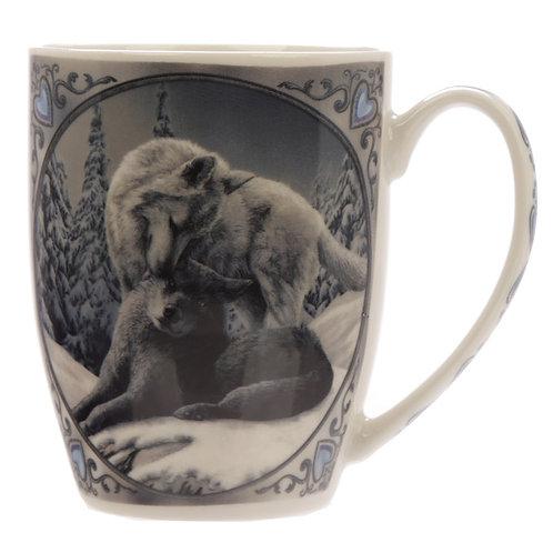 Snow Kisses Wolf Design Lisa Parker New Bone China Mug
