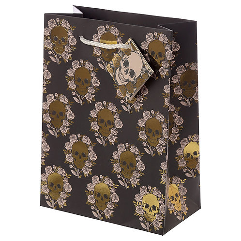 Skulls & Roses Metallic Medium Gift Bag