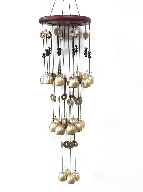 Feng Shui Chimes - Hexagon 18 Bell of Classic Wood and Tube Chime - Dolphins