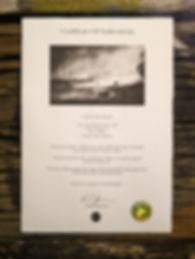 Daniel Dugmore fine art certificate of authenticity