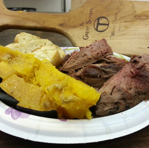 Grilled duck, garlic bread and squash