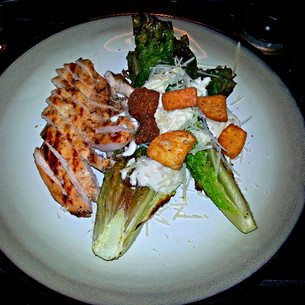 Grilled Romaine Caesar Salad and Chicken